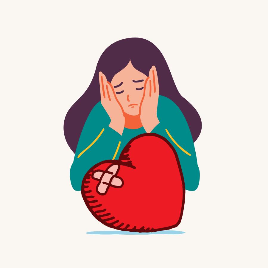 Sad Woman with bandaged Heart